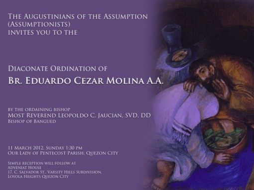 Ordination to Diaconate of Bro. Ed Molina