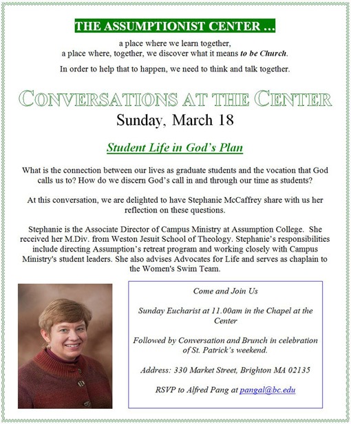 Conversations at the Center - Student Life in God's Plan