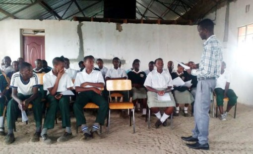 A classroom scene at Assumption High School in Nairobi, Kenya.